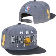 Men's Golden State Warriors adidas Gray/Black 2015 NBA Finals Champions Locker Room Snapback Hat