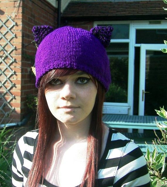 Purple kitty cat hat with ears Hand Knitted by thekittensmittensuk, $22.00