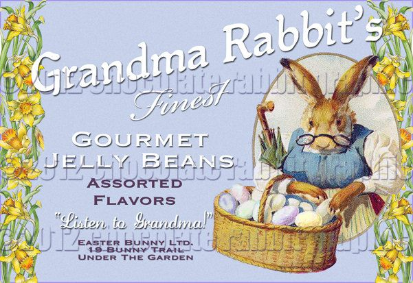 vintage easter candy ads | Vintage Easter Rabbit Candy Label Collage Sheet Digital Download Tag ...