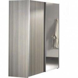 Armoire à 2 portes coulissantes avec miroir coloris frêne gris