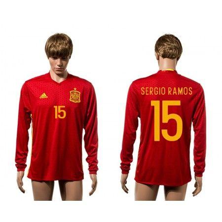 Spanien 2016 #Sergio Ramos 15 Hemmatröja Långärmad,304,73KR,shirtshopservice@gmail.com