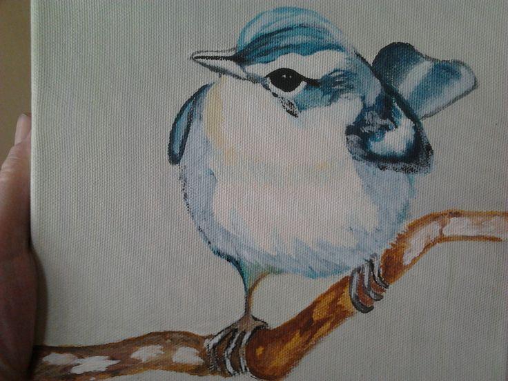 Akrilik boya ile tuval üzerine çalıştığım minik kuş.