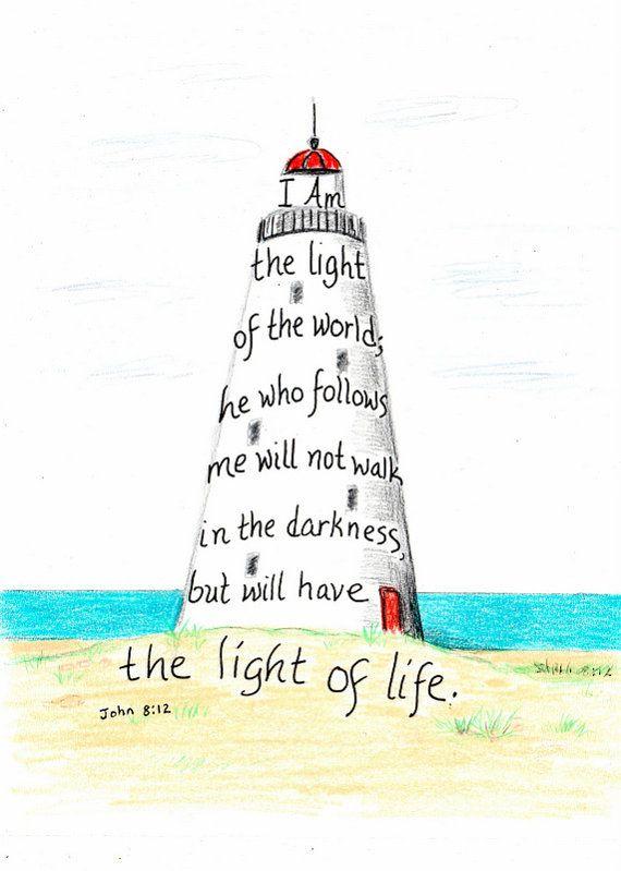 Lighthouse scripture design inspirational print by LindaRobbsArt, $10.00