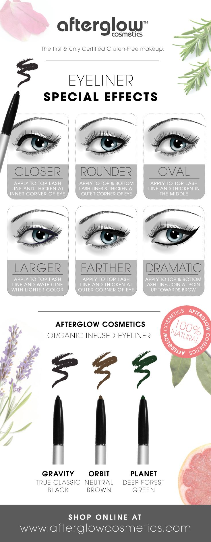 Here's how to apply eyeliner for your eye type and create some cool eyeliner effects. Be sure to check out our Organic Infused Eyeliner at http://afterglowcosmetics.com/organic_pencil_eye_liner/