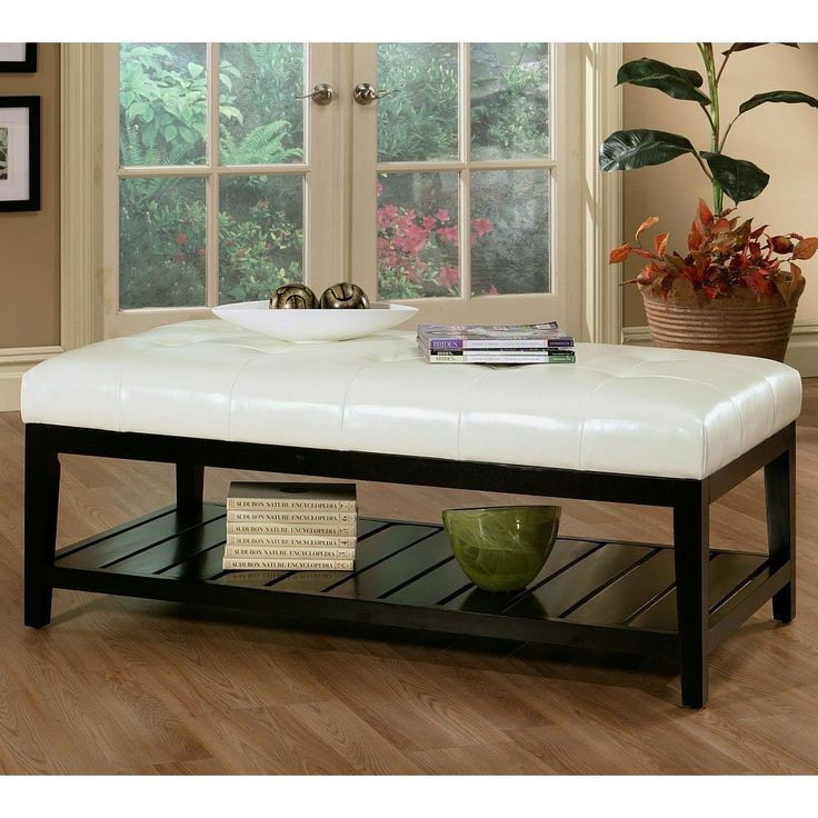 Tufted Leather Ottoman Coffee Table #5