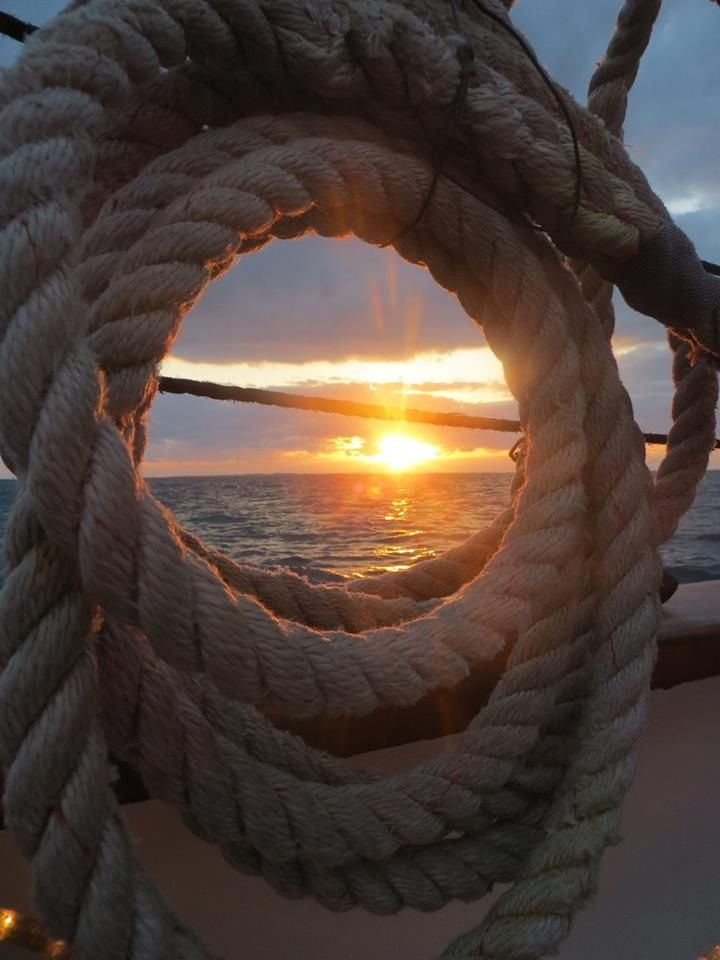 Sailing + Sunset through rope and rigging photo + Beach + Ocean + Nature