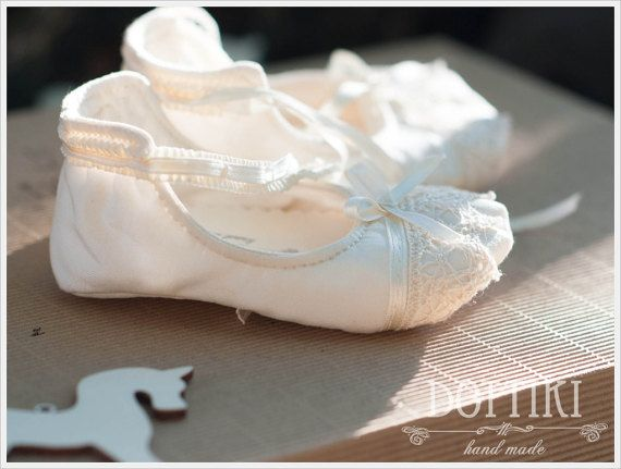 Mary Janes Baby Booties  Silk Shoes Christening Booties