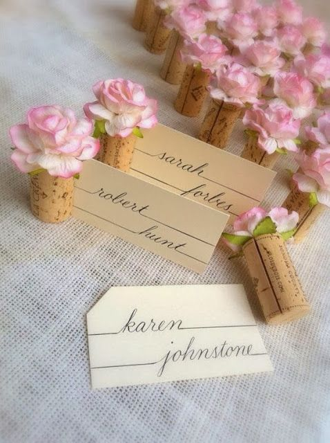 Adorable and inexpensive Wedding Place Card Holders. DIY!! It could also be cut down and a magnet on the end to be cute magnets.