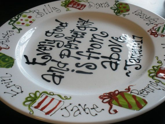 """Hand Painted 12"""" Plate, Every Good and Perfect Gift, Family Personalized Christmas Plate"""