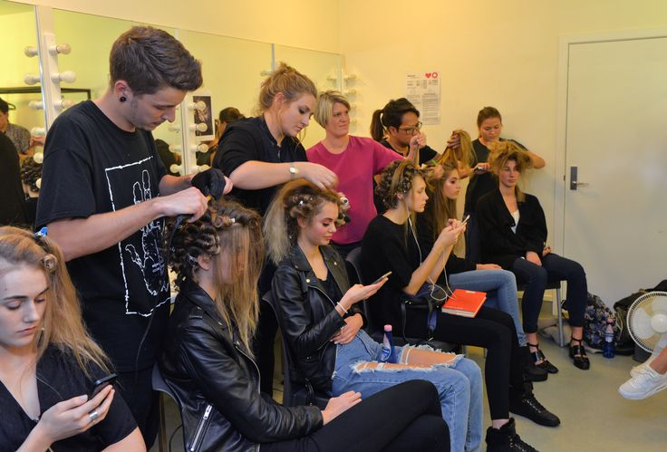 Bettjemans team creating big 70's hair for Trelise Cooper's Theatre of Fashion 2015 #trelisecooper #bettjemans #lorealpronz #theatreoffashion ©RoyEmersonPhotography