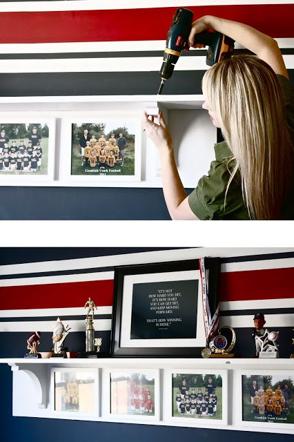 would love to make a team picture/sports trophy/memorabilia shelf for the boy's room to corral their medals/trophies.  Super cute!