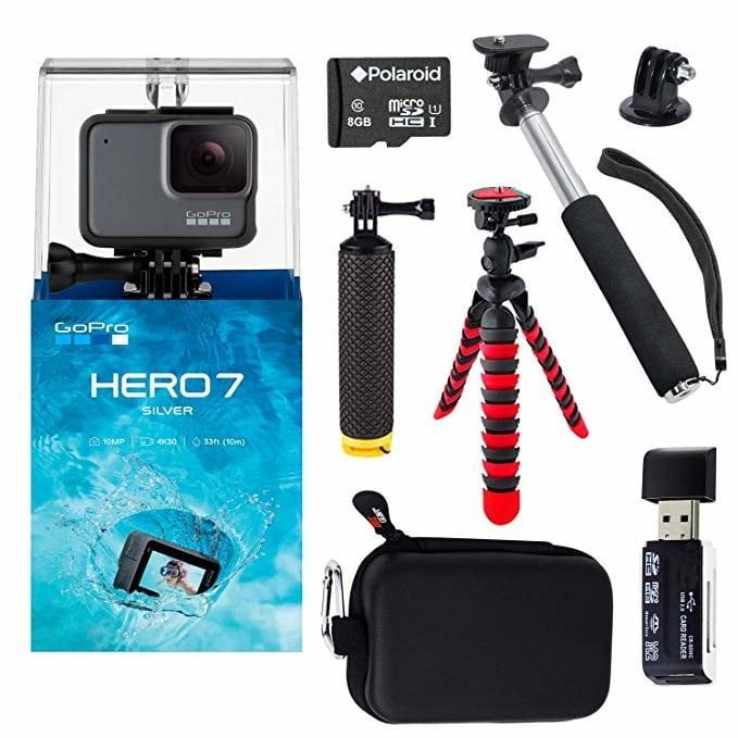 Cyber Monday Gopro Hero7 Silver Deal Amazon Go Pro Hero Bundle Cameraaccessories Camera Accessories Gadgets In 2020 Gopro Gopro Case Memory Card Readers