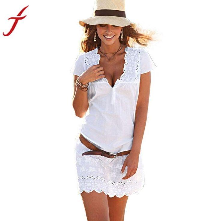 mioim® Mujer Ropa De Verano Playa vestido sexy Cuello En V Loose Beachwear Bikini Cover Up One Size Mini Ropa chalecos Blusa Blanco blanco Talla:Talla única blJcuewG