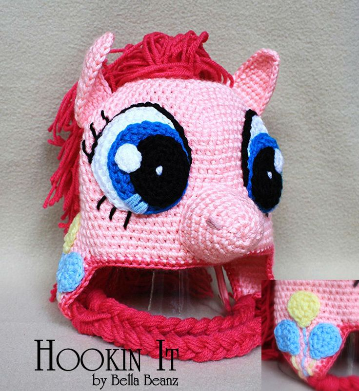 Free Crochet Pattern For My Little Pony Eyes : My Little Ponys Pinkie Pie Inspired Crocheted Hat Hat ...