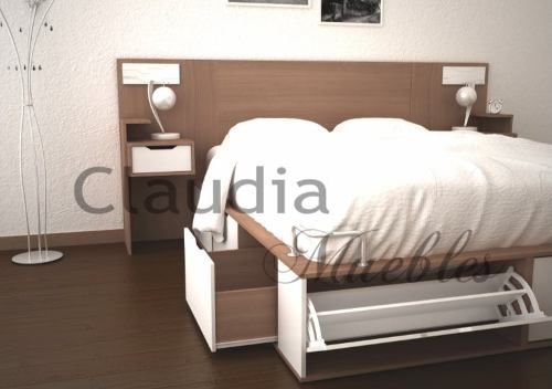 Cama de 2 plazas cajonera botinero base de somier 142501 for Fabrica sofa cama 2 plazas