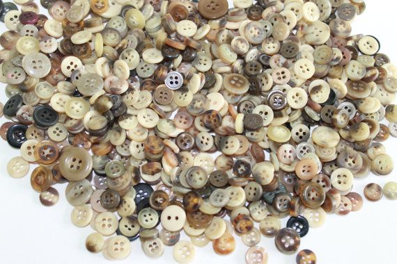 100 small brown cream grey buttons assorted sizes shades and
