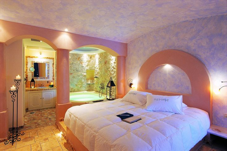 The magic here is in the detailing: clock the generous #Jacuzzi bathtubs fringed with lanterns and fat candles, whose domed ceilings are studded with Swarovski stones that twinkle like stars. http://goo.gl/lbIHPk