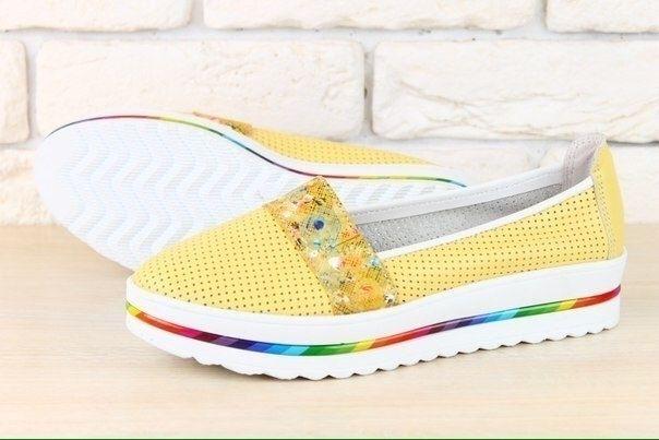 Женские туфли на платформе с перфорацией желтый