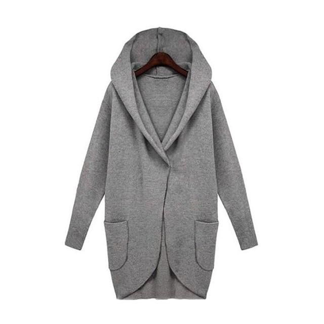 Women Long Coat Autumn winter New 2018 Hooded Coats Female Casual Loose Jackets woolen overcoat Cardigans Plus Size 4 5 Deep gra 2