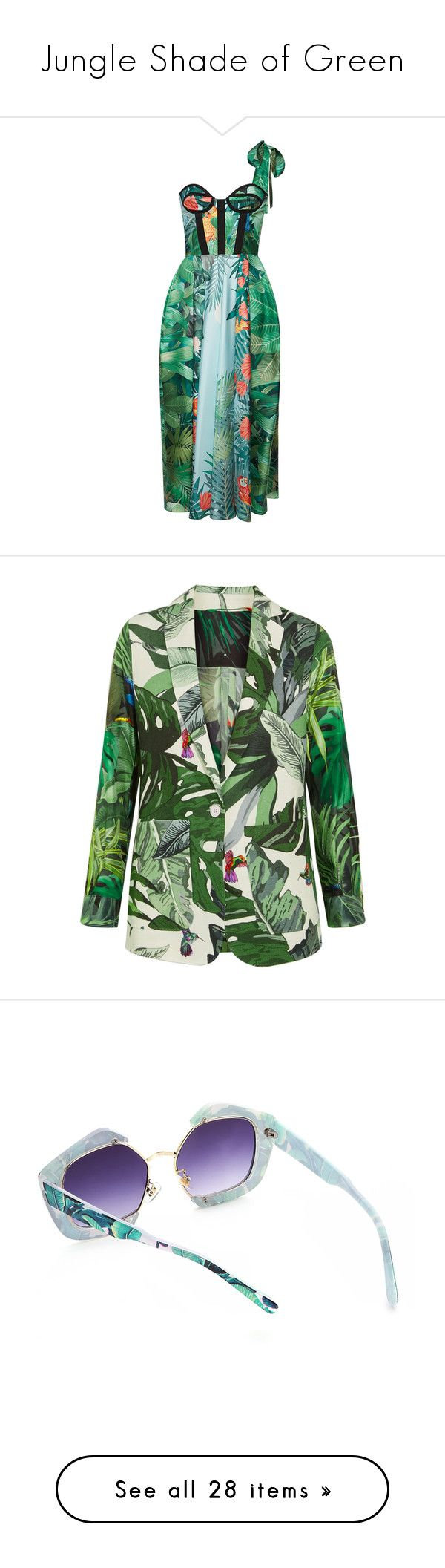 """""""Jungle Shade of Green"""" by greensparkle1 ❤ liked on Polyvore featuring dresses, rochas, corset, green, bone corset, corset style dress, green corset, print cocktail dress, green dress and outerwear"""