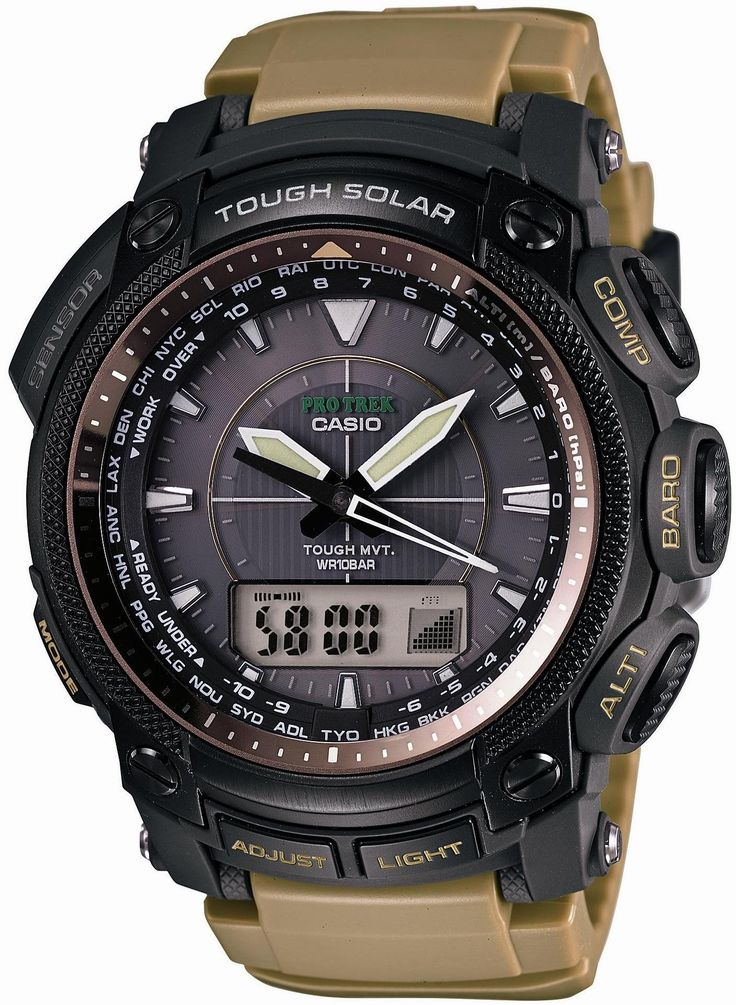 Casio Protrek Tough Movement Tough Solar Multiband6 Watch PRW-5050BN-5. Tough solar power; Multi-band 6 atomic; Low temperature resistant; Tough movement. Digital compass; Altimeter; Barometer; Thermometer; World time (29 cities+ UTC). Full auto LED light with afterglow; Luminous hands and markers; 5 daily alarms. 1/100 sec stopwatch; countdown timer; 12/24 hr. formats; battery level indicator; power saving function; mute function. Water resistant to 330 feet (100 M): suitable for…