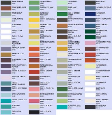 Spray paint color choices: valspar rustoleum and krylon
