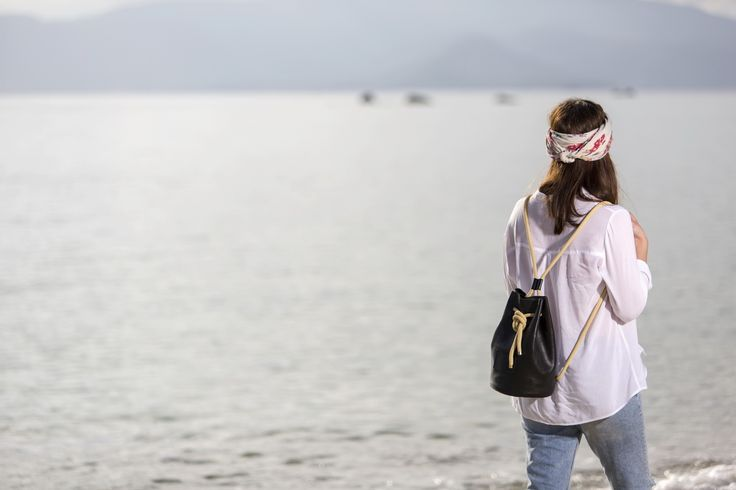 Leather Backpack - Mosaic - Greek Designers - Made in Greece - Naxos Island - Cyclades of Greece - Boat Photography - Sandy Beach - Sunset - Summer Outfits - Spring Summer Collection - Brown Black Bag - Handmade - Cute and Spacious