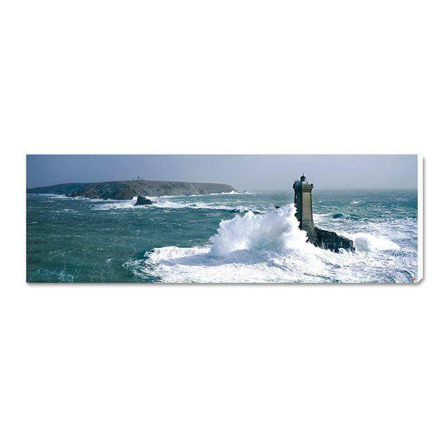 Tableau photo sur toile - Pointe du Raz - Phare de la vieille dans la tempete  - 40 x 120cm - Copyright Philip Plisson