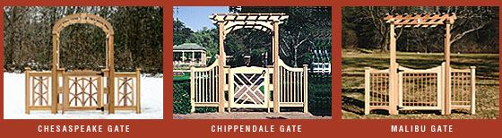 Gates  All of our wooden garden gates are interchangeable with any of our arbor styles. Create an elegant entryway with a beautifully crafted privacy gate or a custom gate for your home.