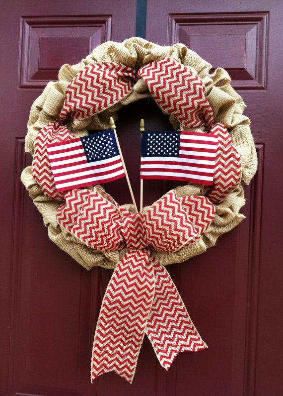 Chevron Burlap July 4th Wreath by Bopsidoodle......on etsy.com