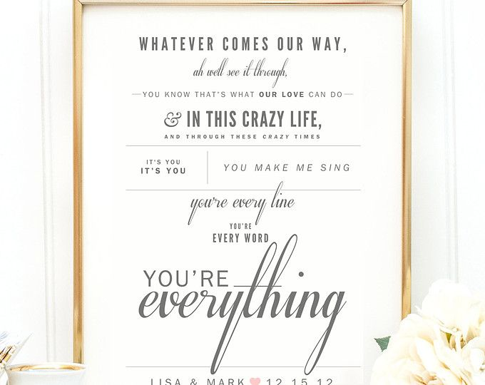 Best 25 everything michael buble lyrics ideas on pinterest home gray blush michael buble everything valentines wedding gift paper stopboris Image collections