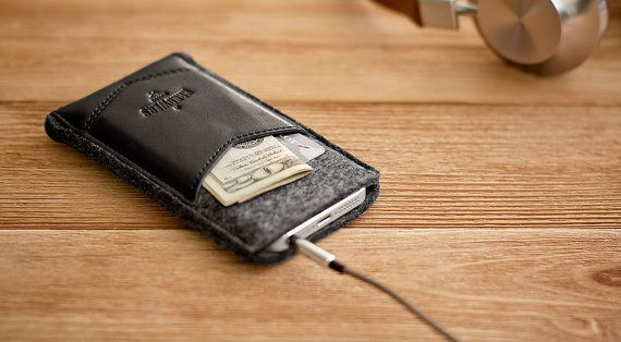 iPhone sleeve with pocket, case, wallet // from natural wool felt and leather (Black)