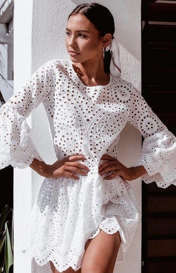 f2e8022197 MINI SUKIENKA LATASHA biała - Sukienki