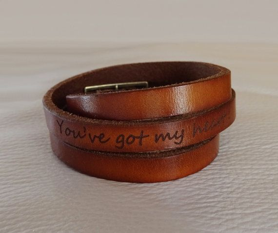 Personalized jewelry engraved leather unisex by Cristalizade