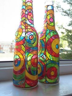 how to paint wine bottles to look like stained glass. Black Bedroom Furniture Sets. Home Design Ideas