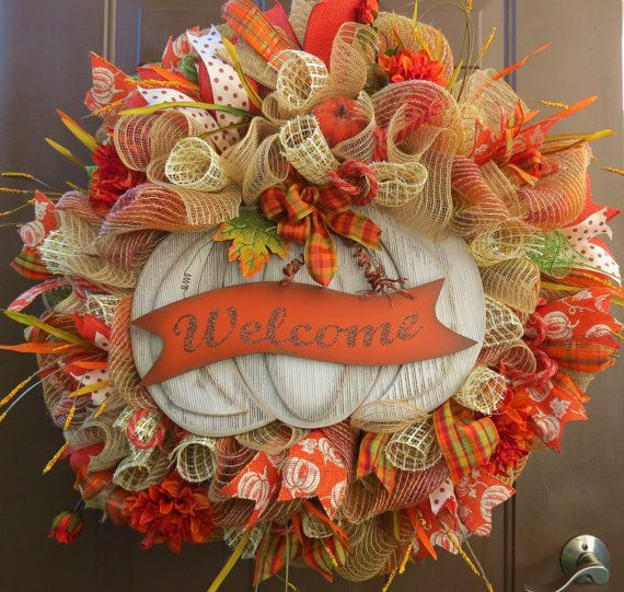 Fall Deco Mesh Wreath Autumn Mesh Wreath by FestivalofWreaths, $120.00