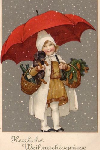 Christmas Girl With DOG OR Dachshund Unsign Marie Flatscher 1916 Must SEE   eBay