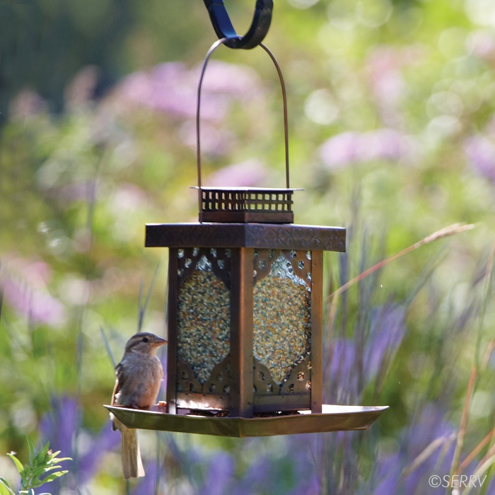 Ornate tin bird feeder with openwork design and copper for Bird feed tin