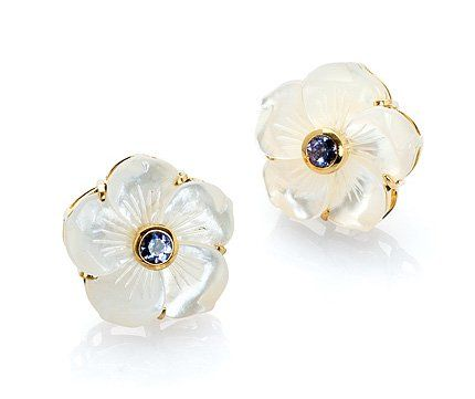Bahina Classic flower earrings in 18k yellow gold with mother-of-pearl and iolite, $1,450; Bahina Jewels