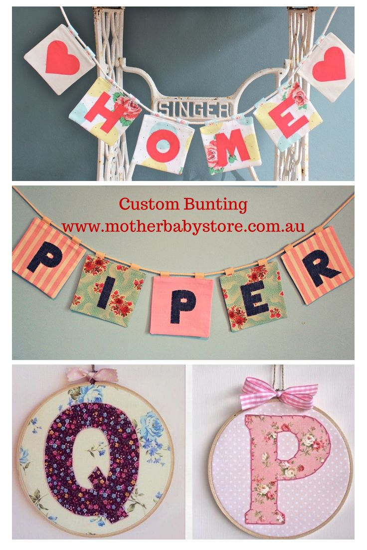 Bunting and Vintage Embroidery Frames available at www.motherbabystore.com.au in Nursery Decor