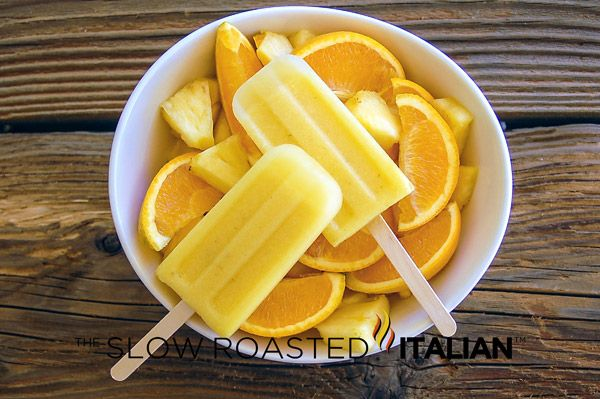 The Slow Roasted Italian: Pineapple Orange Popsicles - Pineapple Orange Popsicles are sweet, tangy, refreshing and perfect for your summer barbecue! Easy to make and a deliciously healthy treat.