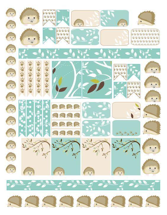 Free Planner Sticker Printable Hedgehog winter planner stickers - hedgehogs, borders