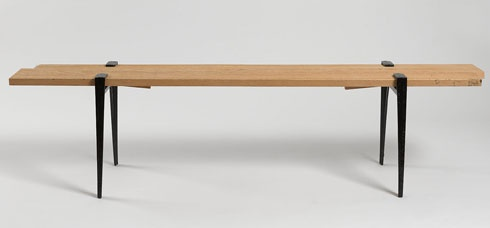 Keel - Bench by Oscar Magnus Narud. Its iron legs provide the housing for the two wooden planks that compose the seat. Fully durable, it is as easy to set up or knock down as often as needed providing an intelligent solution for flat pack shipping or storage. #designwithheart