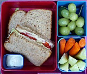 Laptop Lunches, Bento-ware: Hummus Sandwich, Green Grapes, Carrot and Cucumber Strips, Ranch Dressing