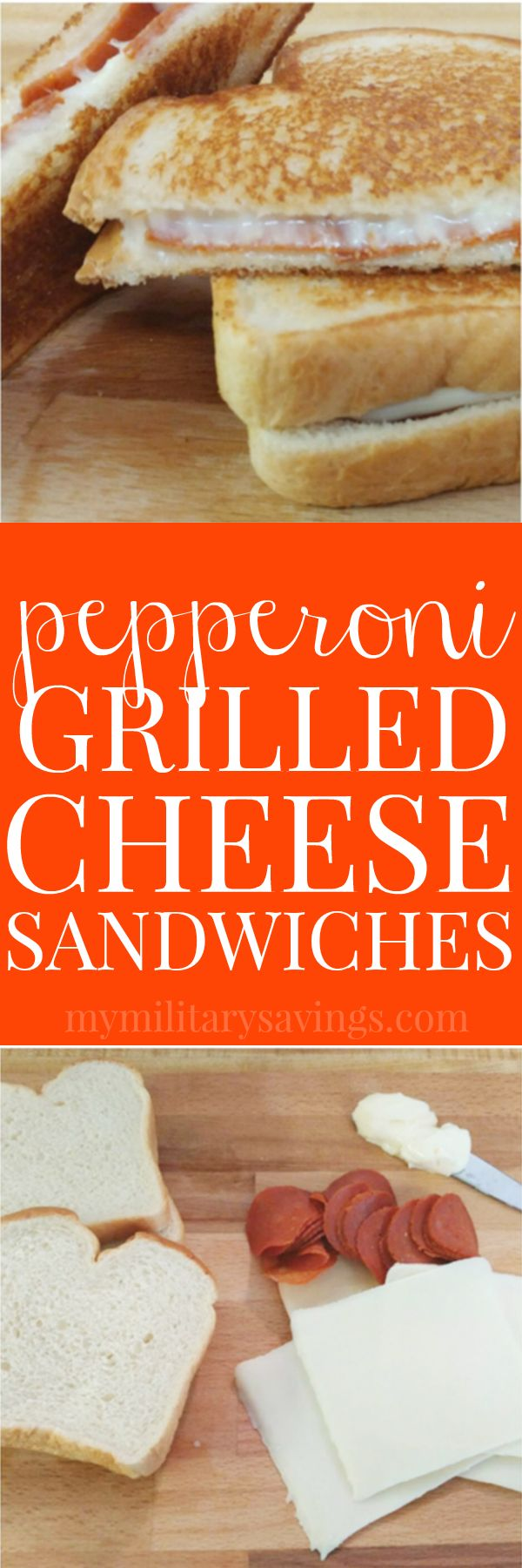 Pepperoni Grilled Cheese Sandwiches - super easy recipe for kids meals, lunch, dinner, or snack! Add this to your delicious recipes board!