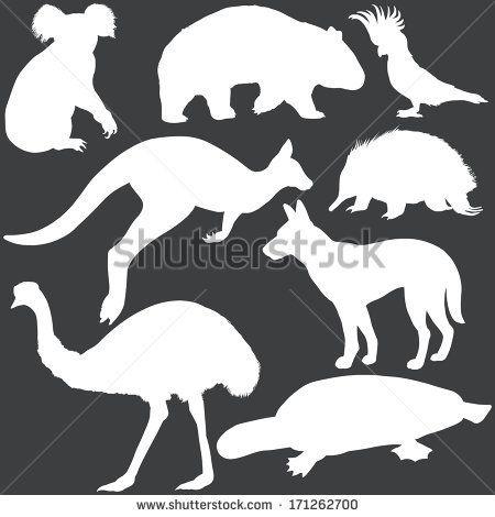 vector set of white australian animals silhouettes - stock vector