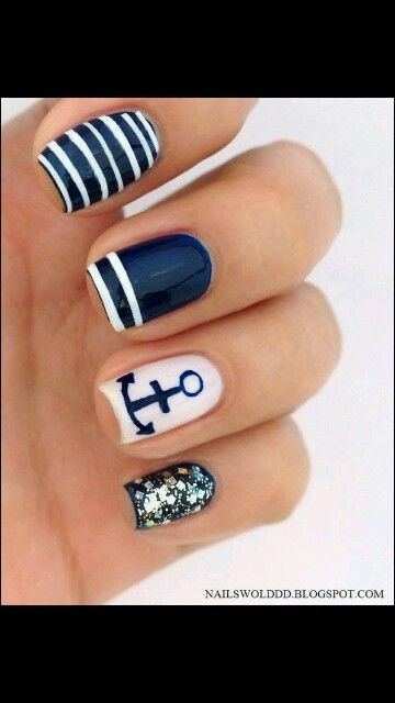 Navy and Anchor nails