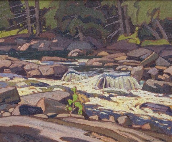 A.J. Casson - Knoeffley Rapids 9.375 x 11.25 Oil on panel (1932)