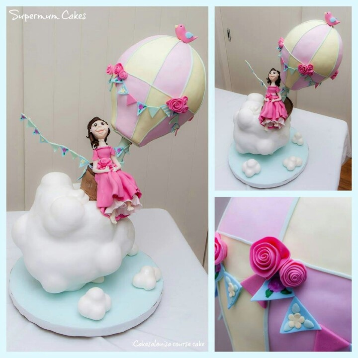 cloud cake with hot air balloon