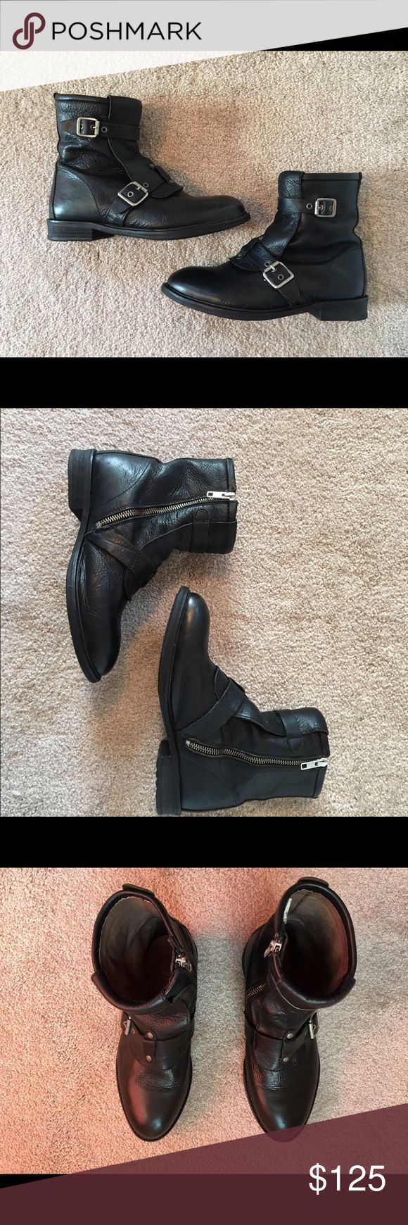 Hudson Shoes distressed ankle boots Hudson Shoes black distressed biker boot. Side zip, adjustable front and ankle buckles. Only worn approximately 5 times. Looks great with skinny jeans! H By Hudson Shoes Ankle Boots & Booties